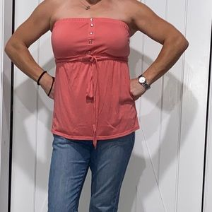 Cute Summer Strapless Top with Tied Waist